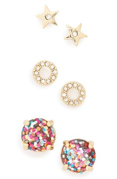Obsessing over this trio of stud earrings by Kate Spade! Pink and gold details make this gorgeous gems sparkle.