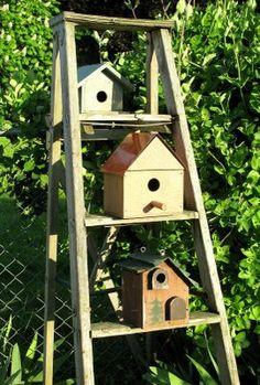 Funky Junk Interiors: The Birdie Hotel - addition to the birdhouse garden