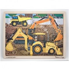 Teach your little one about construction sites and machines with Melissa & Doug's Construction Jigsaw Puzzle. Featuring exciting illustrations of construction vehicles, this sturdy wooden puzzle is great for the entire family. All Toys, Kids Toys, Wooden Jigsaw Puzzles, Melissa & Doug, Gifts For Girls, Wooden Toys, Kids Shop, Dump Truck, Easy Storage