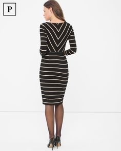 Petite Striped Sheath Dress