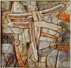 BUTTERFLIES, different kinds of woods, 60 x 60 cm / MOTÝLI, různá dřeva, 60 x 60 cm / Viva wood art