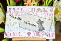 """maikreations: Rainbow: Alles Gute / all the best Used Milo's ABCs to spell out the birthday sentiment """"Alles Gute zum Geburtstag"""" and finished the card with a cute cat on a vellum tag."""