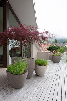 Vlonder en potten zijn gekozen in dezelfde tint, waardoor het rust uitstraalt. De warme kleuren van de beplanting komen hierdoor extra goed tot zijn recht.