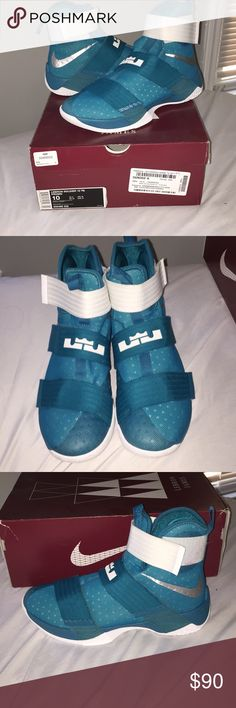 221a9fb4ad22b6 Lebron Soldier 10 Topical Teal  Metallic Silver  White Only Worn Once! Bashy  Fashion