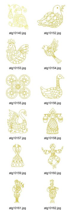 Folk Embroidery Patterns 12 days of christmas New Embroidery Designs, Christmas Embroidery Patterns, Embroidery Hoop Art, Learn Embroidery, Embroidery Ideas, Twelve Days Of Christmas, Felt Christmas, Christmas Ornaments, Mandala