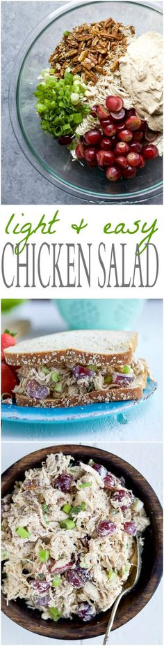 A LIGHT & EASY CHICKEN SALAD RECIPE that's low carb, high protein, and gluten free! This Chicken Salad is made with greek yogurt, mustard, grapes, and fresh lemon juice. Perfect for a quick lunch! | joyfulhealthyeats.com Salad Recipes For Dinner, Chicken Salad Recipes, Healthy Salad Recipes, Yogurt Recipes, Salad Chicken, Protein Recipes, Protein Snacks, Lunch Recipes, Summer Recipes