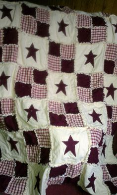 country star rag quilt by krickyskreations on Etsy, $150.00