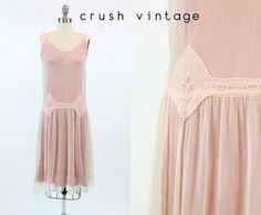 20s flapper jurk XS roze / Vintage zijde Chiffon van de jaren 1920 Beaded Drop…