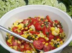 Sweet corn and cherry tomato salad. We love this with BBQ! So simple and delicious!