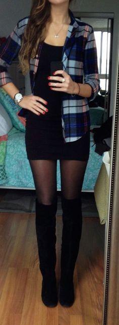 #fall #fashion / black + plaid