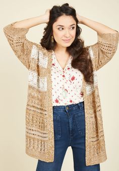 Road Trip Specifics Cardigan. You take delight in details, like secret side roads, surprise wildflower patches, and the crocheted lace appliques on this rich yellow sweater! #brown #modcloth