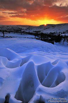 Strange natural snow formations, Hayfield, Derbyshire; England .