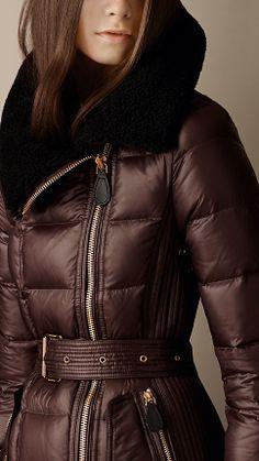 Shearling Collar Puffer Jacket   Burberry