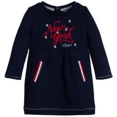 Tommy Hilfiger Girls Navy Blue Jersey Dress at Childrensalon.com