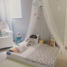 Small Room Decor, Diy Room Decor, Bedroom Decor, Bedroom Ideas, Home Decor, Toddler And Baby Room, Toddler Bed, E Room, Kids Canopy