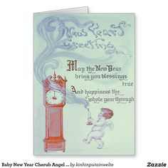Baby New Year Cherub Angel Grandfather Clock Greeting Card