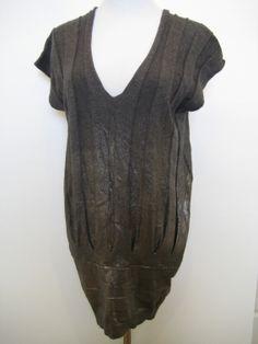 AX Armani Exchange Shiny Silver Gray Ribbed Tunic Top Shirt Dress $99.99