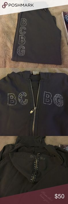 BCBG sweat outfit Size Large. Cropped sweat pants and zip up sweat shirt with rhinestones. Great condition. BCBGMaxAzria Pants Track Pants & Joggers