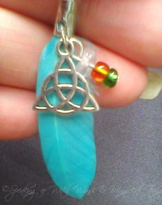 Feather and Triquetra with Quartz Chip by SpeakingofWitchWands, $5.99 US / £3.67 UK #buyfromwomen