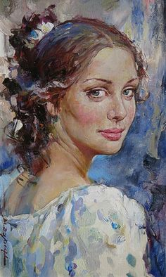 """The Glance"" - Andrew Atroshenko (b. 1965), oil on canvas {figurative art beautiful smiling female head woman face portrait painting}"