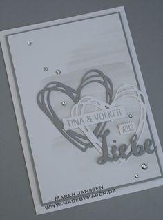 Stampin`Up!, Stampin Up, Alles Liebe, Karte, Hochzeit, Glükwunschkarte, Grüße voller SOnnenschein, Aquarell, Herzen, Liebe, Love