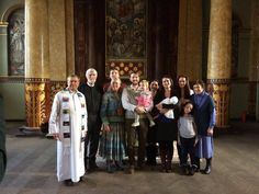 After the baptism of Andrei, son of our warden Jeremy Diakonov-Curtis & Darya LaRusse, in the old English Church, 06.11.2016. Andrei was baptised in the original font in the church by Rev John Summers, probably the first baptism in that church since 1918