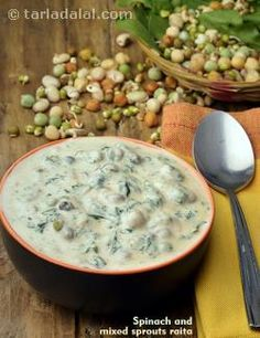 This scrumptious and refreshing Spinach and Mixed Sprouts Raita makes an exciting accompaniment to any meal. Raitha Recipes, Sprout Recipes, Salad Recipes, Vegetarian Recipes, Cooking Recipes, Healthy Recipes, Recipies, Baby Recipes, Dessert Recipes