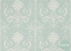 Josette Duck Egg Blue Floral Linen Mix Curtain Fabric
