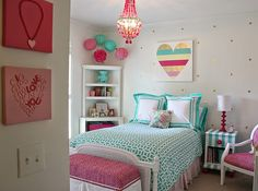 Little girl& room revamped to bright and bold tween room. Girly Bedroom Decor, Diy Crafts For Bedroom, Girls Bedroom, Bedroom Ideas, Diy Bedroom, Budget Bedroom, Bedroom Wall, Teen Bedrooms, Bedroom Furniture