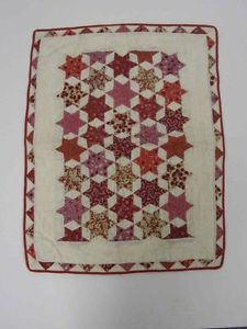 Antique Six Pointed Star Doll Quilt in Shades of Red, 23 x 17"