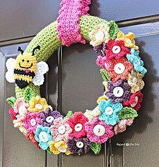 Crocheted Spring Wreath 1 (Karla Twomey) Tags: holiday flower rose pattern crafts crochet seasonal free wreath daffodil pansey