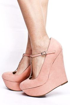 #Blush T Strap Wedges