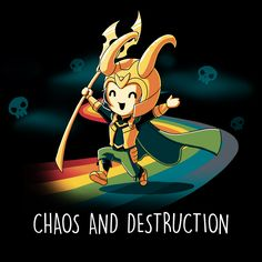 Chaos and Destruction - This official Marvel t-shirt featuring Loki is only available at TeeTurtle!