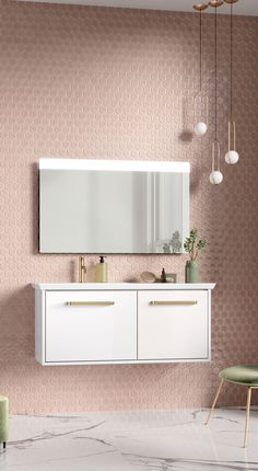 In the second part of our ColourPersona mini-series, we present a range of divine bathroom designs, combining subtle pastel shades, neutral white and bold signature brassware, to delight every homeowner. Blush Bathroom, Tranquil Bathroom, Pastel Bathroom, Pink Bathroom Tiles, Big Bathrooms, Bathroom Colors, Bathroom Design Inspiration, Bathroom Interior Design, Bathroom Designs