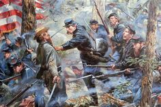 Maine counterattacs at Little Round Top-Gettysburg by master Don Troiani Canadian History, World History, American History, Civil War Art, Man Of War, Military Art, Military History, Historical Art, Le Far West