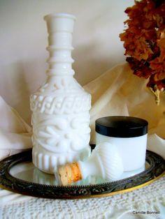 Vanity Set of Milk Glass Jar and Decanter