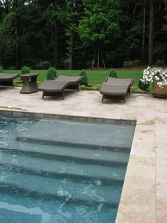 Want large steps like this instead of Baja shelf. Example of Blue Granite Pebble Sheen, Noce Travertine Pool Steps Inground, Pool Pavers, Driveway Pavers, Swimming Pool Designs, Swimming Pools, Lap Pools, Pool Finishes, Pool Shapes, Pool Colors