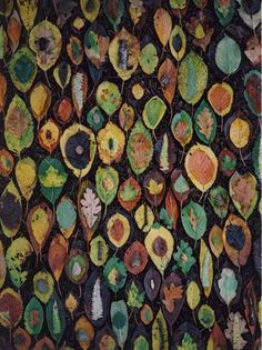 Stunning! It's leaves layered on top of each other--it looks like a painting or a weaving... By Tim Pugh, environmental artist