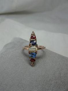 Victorian Multigem Ring Citrine Sapphire Garnet 14K Gold Antique Wedding Marquis