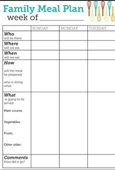 meal planning check out these free printable meal planning templates that can help set