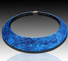 Winter evening polymer clay bib necklace. $25.00, via Etsy.
