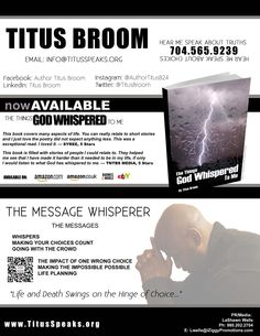 Book Author Titus Broom Today to receive an empowering message. Visit www.TitusSpeaks.org today!