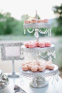 Macaroon Tower on A Beautiful Cake Stand, Great Tea Sweet Setting