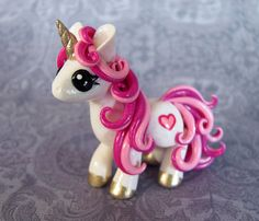 White and Pink Valentine Unicorn by DragonsAndBeasties on Etsy
