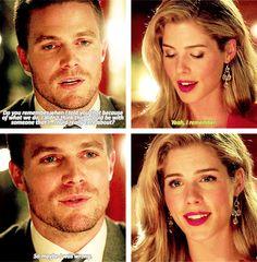 Oliver: Sana yaptığımız iş yüzünden biriyle, gerçekten değer verdiğim biriyle birlikte olabileceğimi düşünmediğimi söylemiştim. Hatırlıyor musun? Felicity: Evet, hatırlıyorum. Oliver: Belki de yanılmışımdır.