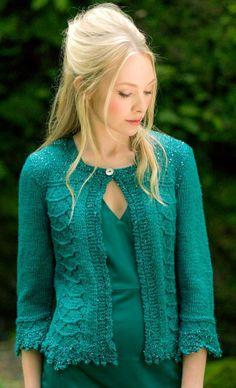 Harmony by Louisa Harding - Knitted cardigan in Louisa Harding Grace Hand beaded yarn #green #yarn