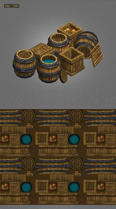 example of low poly barrel and textures http://3docean.net/item/wood-box-barrels-lowpoly/5562223