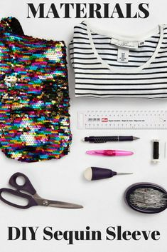 Add some sparkle to your sleeves! Sequins on basics (like T-shirts) bring new life to old garments. Use up little bits of leftover sequin fabric to reduce waste and your stash.