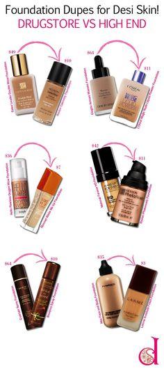 Foundation Dupes for DESI Skin! Drugstore vs High End  desiBeauty blog