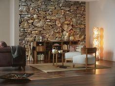Praxis   Fotobehang van grove stenen en het lijkt net of je buiten bent! Open haard erbij en het warme gevoel kan beginnen!
